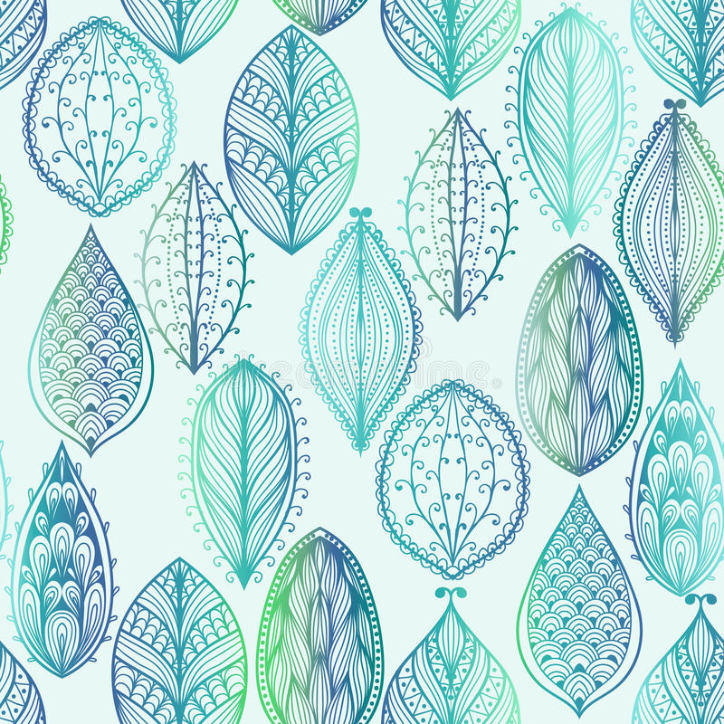 Seamless pattern with blue leaves stock illustration