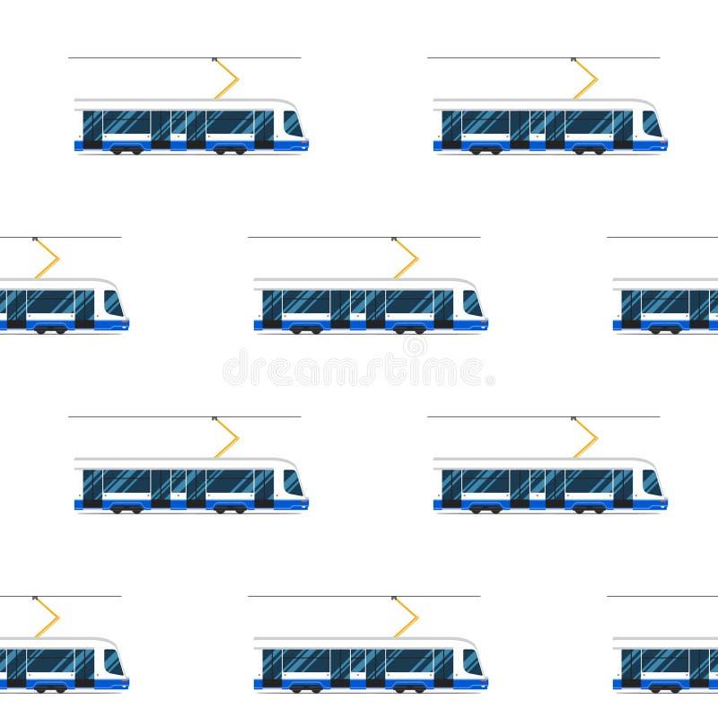 Seamless pattern of blue modern tram. royalty free illustration