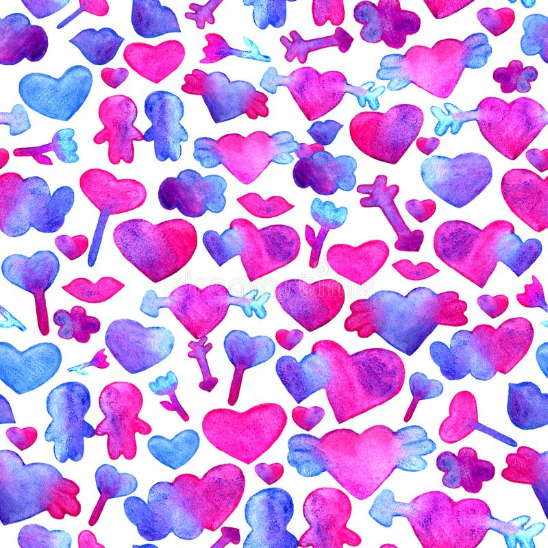 Seamless pattern with blue, pink watercolor hearts. arrow, lips, people romantic design. Isolated on white background vector illustration