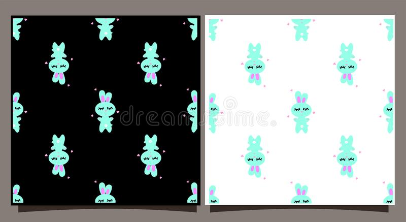 Seamless pattern with blue rabbit. Tile on a black and white background. Cute bunny cartoon character for textiles royalty free illustration