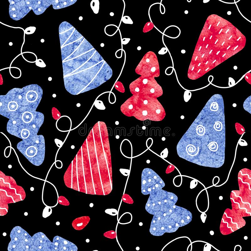 Seamless pattern with blue and red christmas trees and festive garland isolated on black background. Abstract pattern collage of. Watercolor stains. Hand drawn royalty free stock image