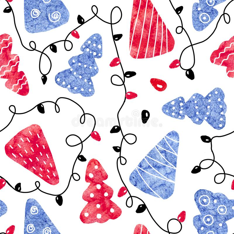 Seamless pattern with blue and red christmas trees and festive garland isolated on white background. Abstract pattern collage of. Watercolor stains. Hand drawn stock photos