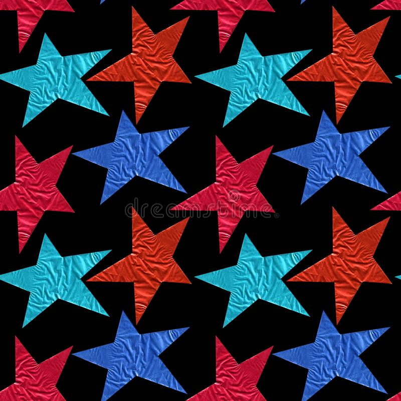 Seamless pattern with blue and red stars on a black background royalty free stock photos