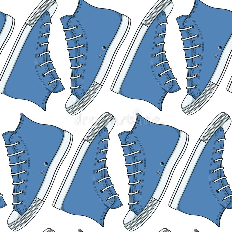 Seamless pattern with blue sneakers, gumshoes. Vector background. stock illustration