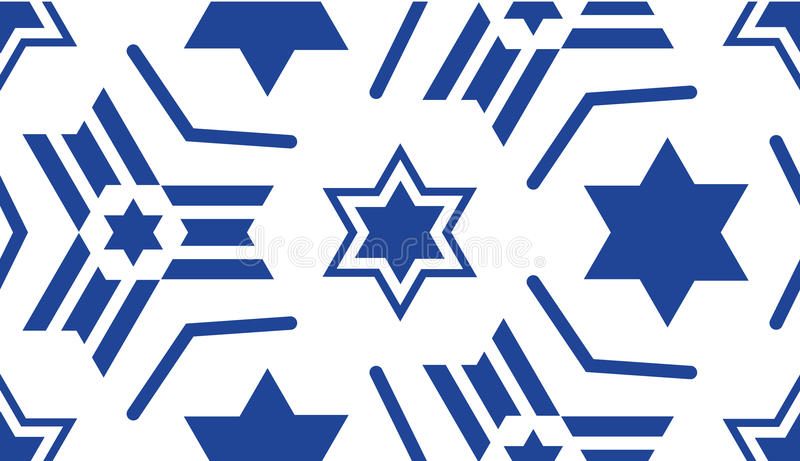 Seamless pattern, with a blue star of David. Jewish ornament for textiles, fabrics, prints, postcards, flags for religious and patriotic themes of the Jewish royalty free illustration