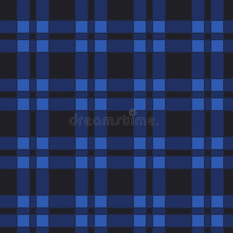 Seamless pattern of blue tartan. royalty free illustration