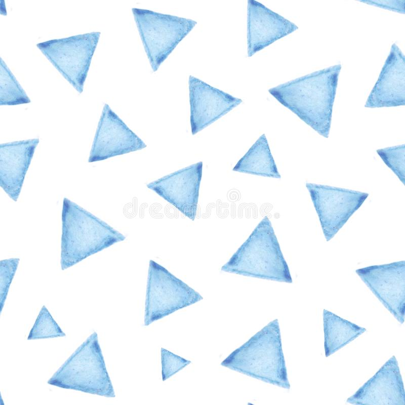 Seamless pattern with blue triangles on white background. stock illustration