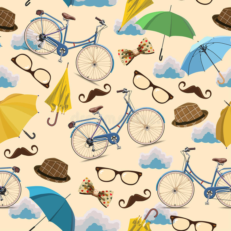 Seamless pattern with blue vintage bicycles, glasses, umbrellas, clouds, bows, hats, mustache on beige background. stock illustration