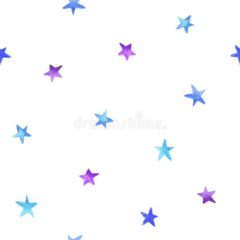 Seamless pattern blue and violet watercolor stars stock illustration
