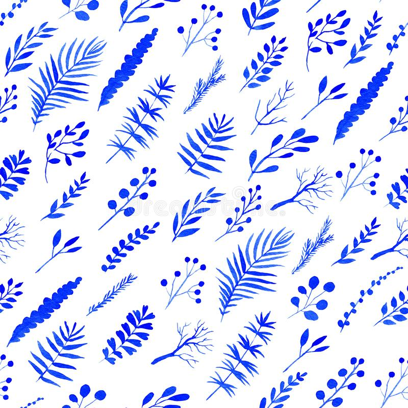 Seamless pattern with blue watercolor flowers and branches vector illustration