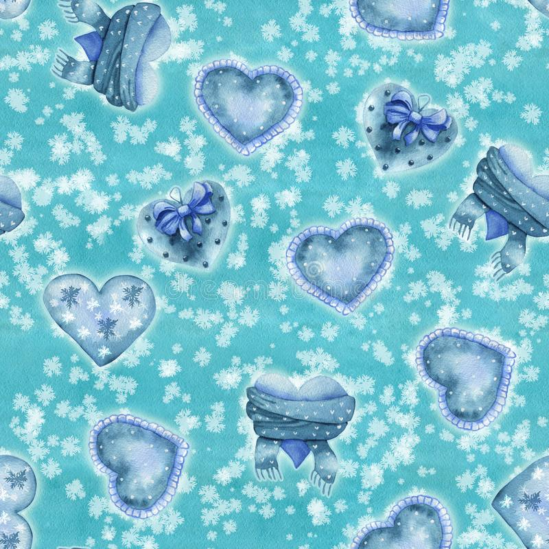 Seamless pattern with blue winter watercolor hearts on snowfall stock illustration
