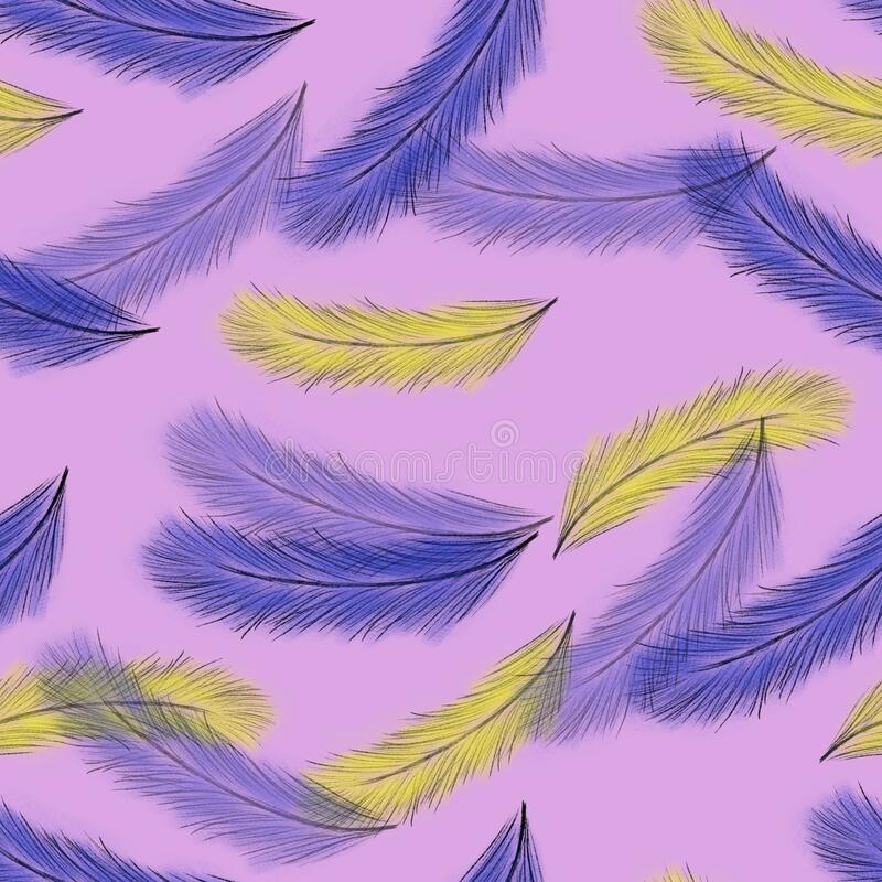 Seamless pattern with blue and yellow feathers on pink background. Hand drawing. Soft and fluffy pattern. Print, packaging, wallpa royalty free illustration