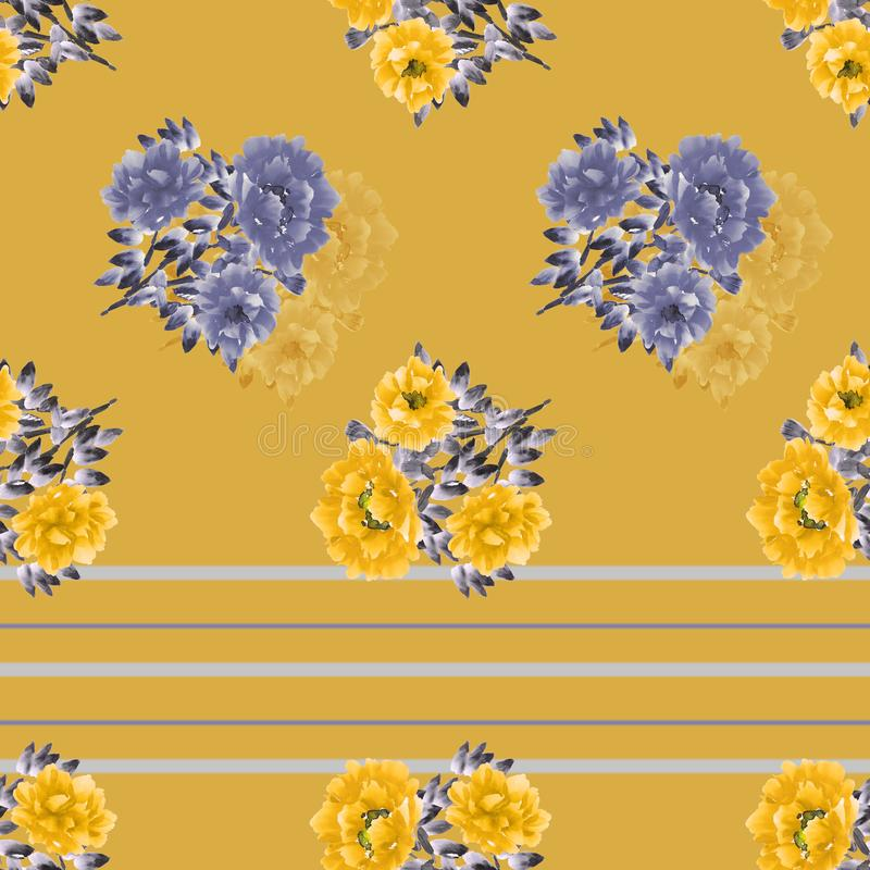 Seamless pattern of blue and yellow wild flowers on a deep yellow background with gray and blue horizontal stripes. Watercolor vector illustration