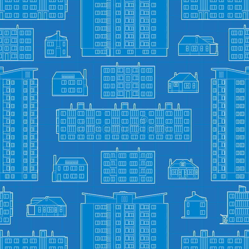 Seamless pattern with blueprint of dwelling. Buildings. The layout is fully editable stock illustration