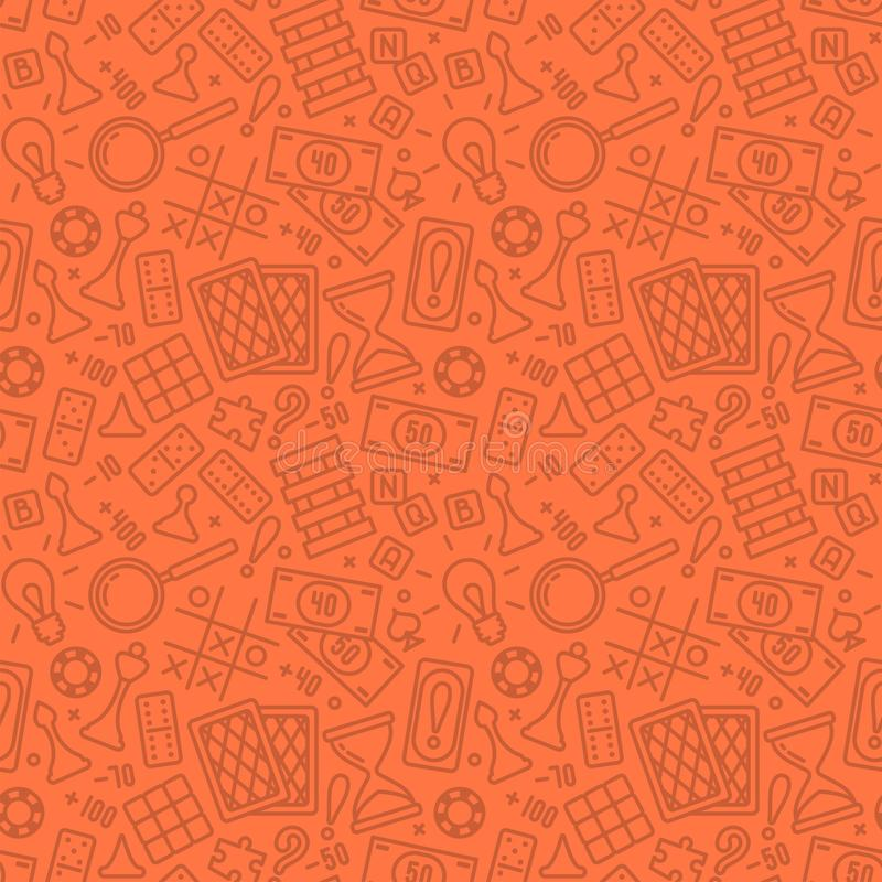 Seamless pattern with board game attributes in linear style vector illustration