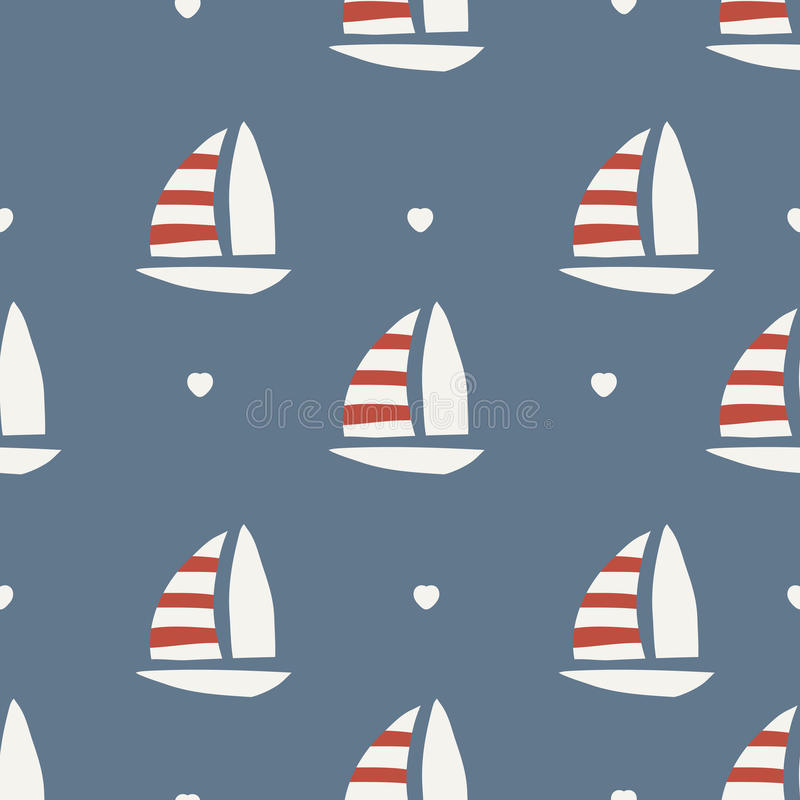 Seamless pattern. boat with heart. Background design stock illustration