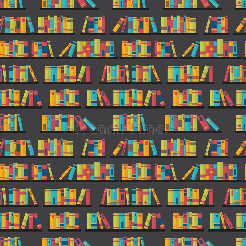 Seamless pattern with books on bookshelves. Flat design. Library, bookstore. vector illustration