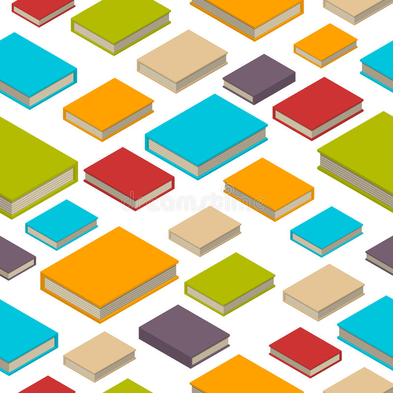 Seamless pattern of books. Isometric flat style. royalty free illustration