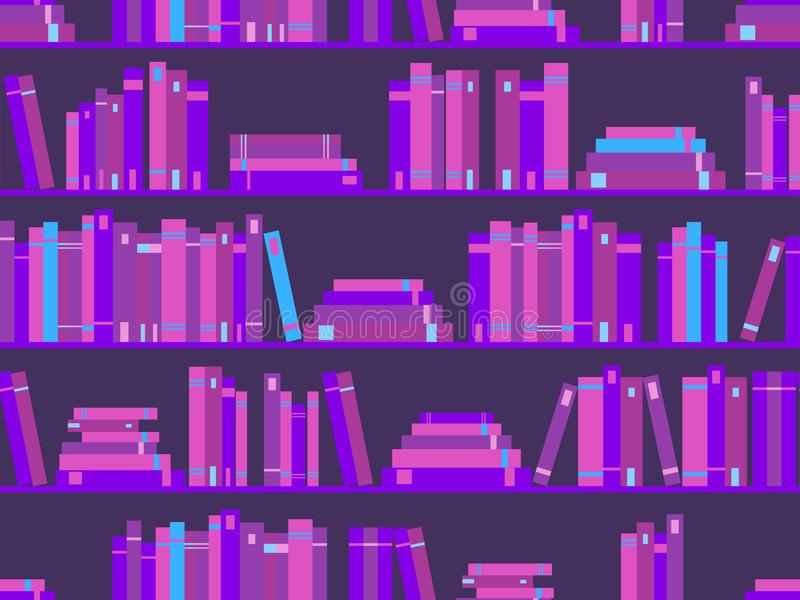 Seamless pattern with books, library bookshelf. Purple color. Synthwave, new retro wave in style 80s. Vector stock illustration