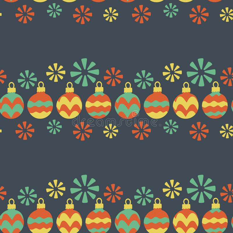 Seamless pattern. Christmas garland, Christmas balls painted by hand, snowflakes. Vector illustrations for greeting cards, posters stock illustration