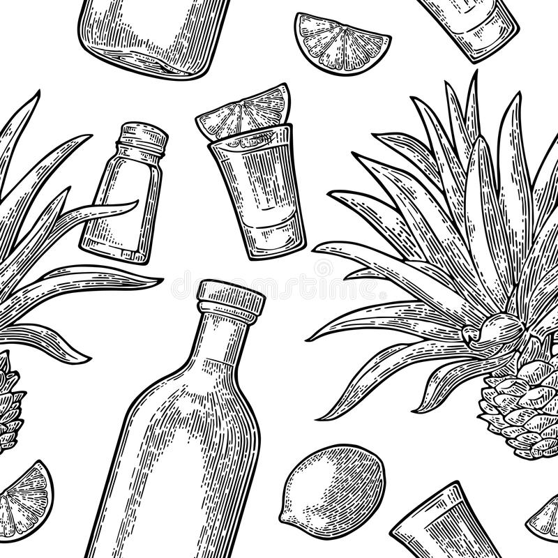 Seamless pattern of bottle, glass tequila, salt, cactus and lime. Seamless pattern of bottle, glass tequila, salt, cactus and slice lime on white background vector illustration