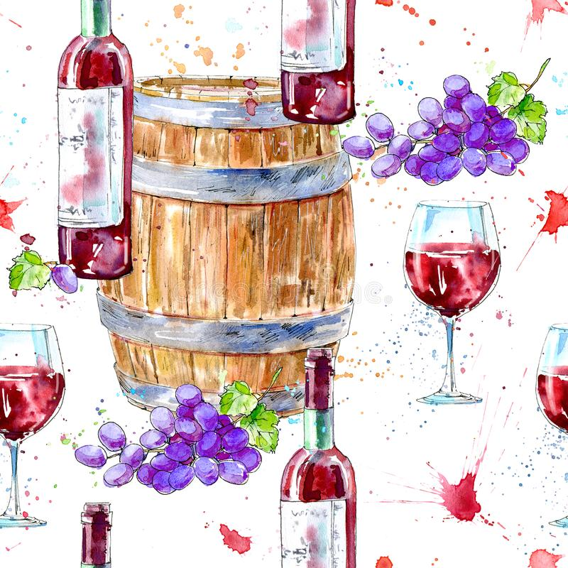 Seamless pattern of a bottle of red wine, glasses,wooden barrel and grapes. Picture of a alcoholic drink.Beverage.Watercolor hand drawn illustration.White vector illustration