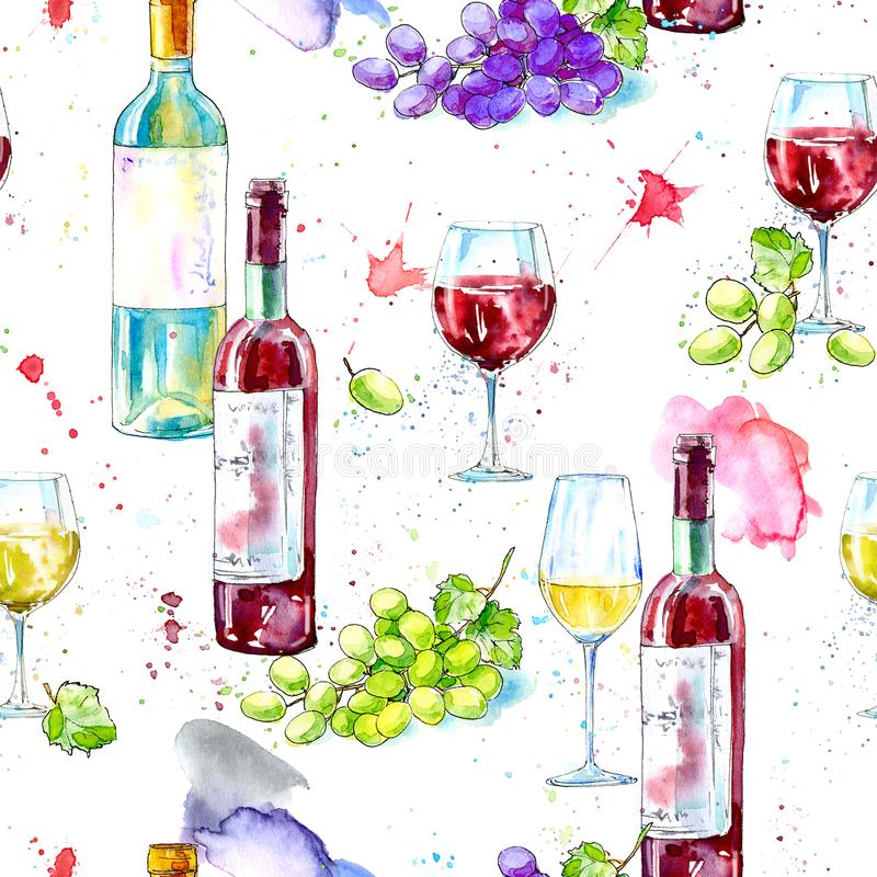 Seamless pattern of a bottle of white and red wine,grape and glasses. stock illustration