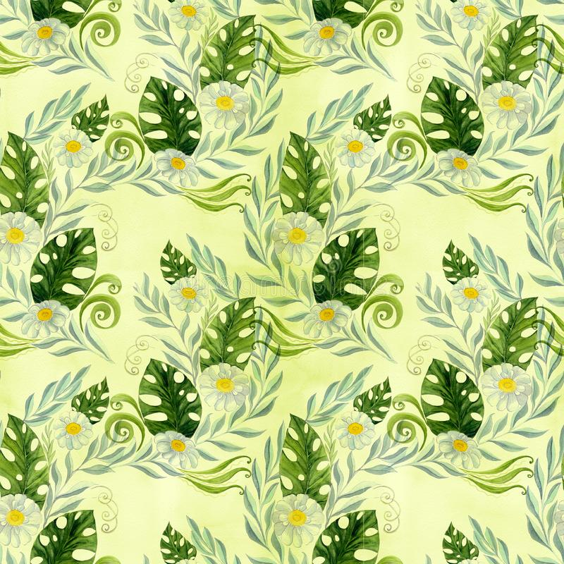 Seamless pattern. A bouquet of daisy flowers - flowers, leaves on watercolor background. vector illustration