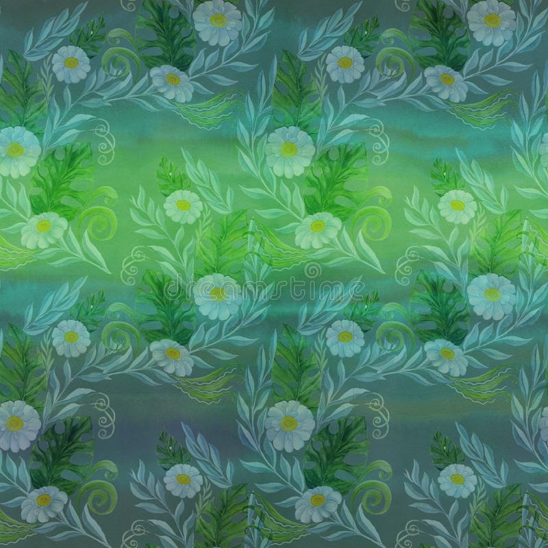 Seamless pattern. A bouquet of daisy flowers - flowers, leaves on watercolor background. stock illustration
