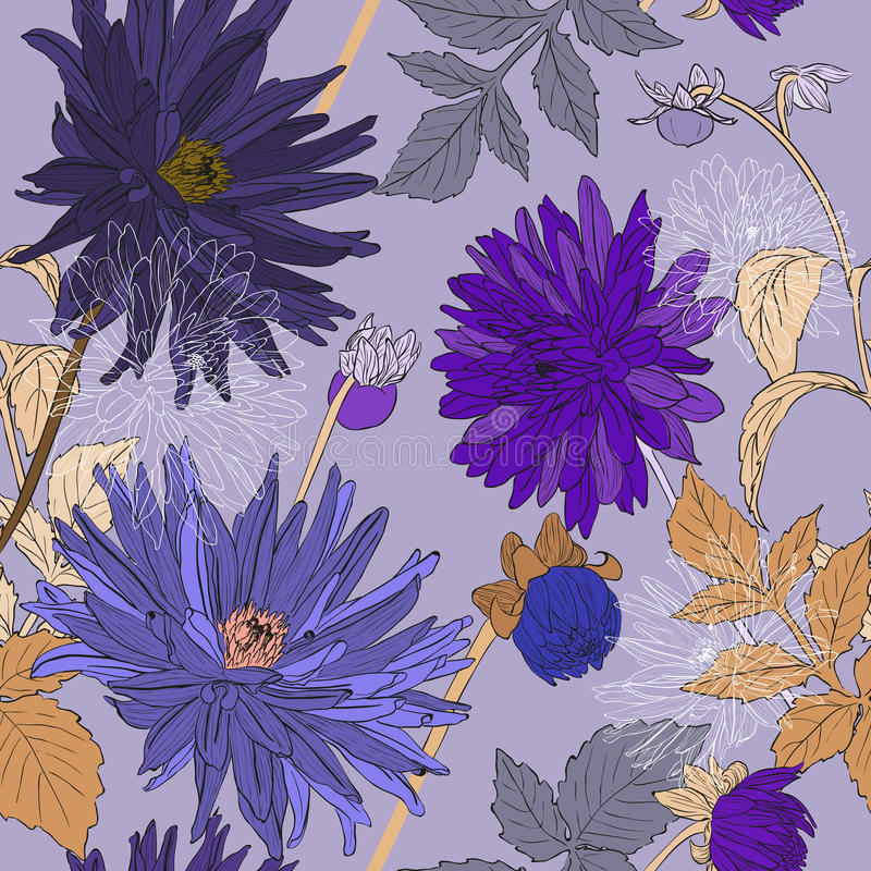 Seamless pattern with bouquets of Beautiful flowers stock illustration