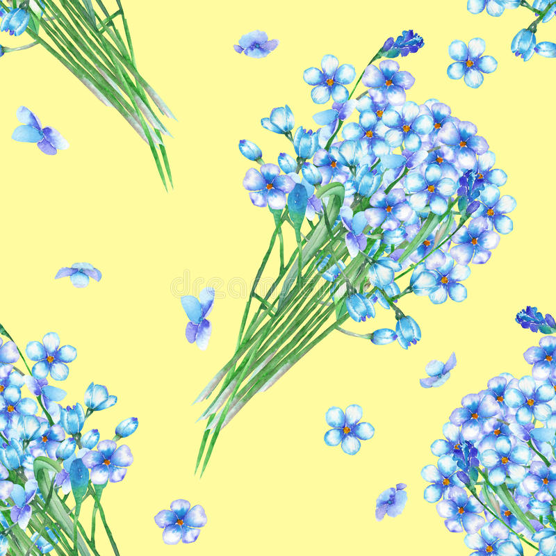 Seamless pattern with the bouquets of blue forget-me-not flowers (Myosotis), painted in a watercolor on a yellow background royalty free illustration