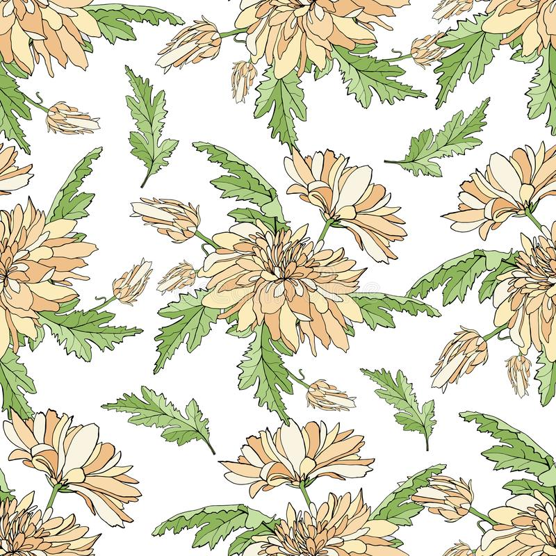 Seamless pattern with bouquets of chrysanthemums. Endless texture for design your greeting cards, fabric design, wedding royalty free illustration