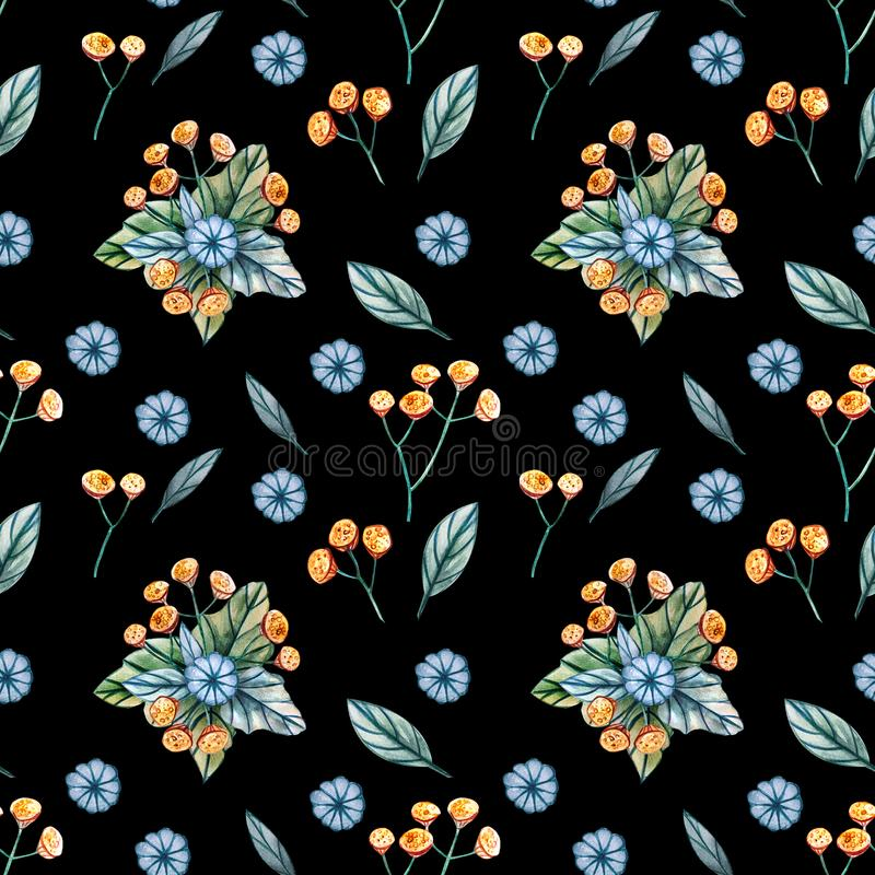 Seamless pattern with bouquets of wildflowers royalty free illustration