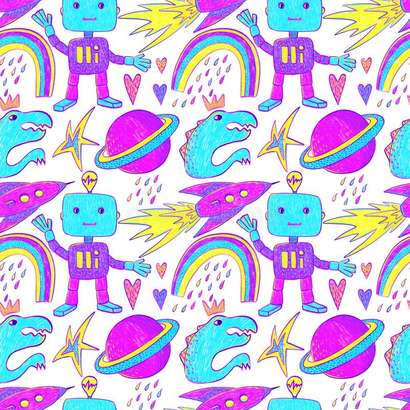 Seamless pattern on the boy wonder theme with robots, rainbows, dinosaurs, planets, rockets, hearts, raindrops, stars royalty free stock images