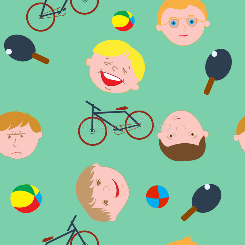 Seamless pattern, boys from our street vector illustration
