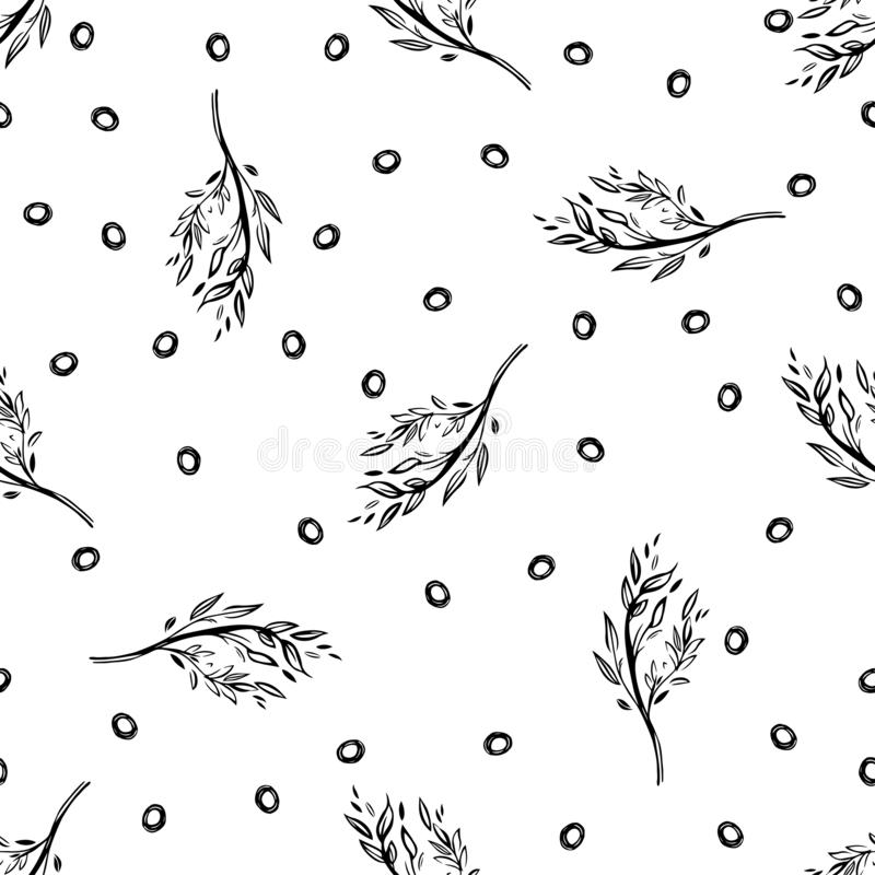 Seamless pattern with branches. Backround with ornament from the branches and leaves. stock illustration