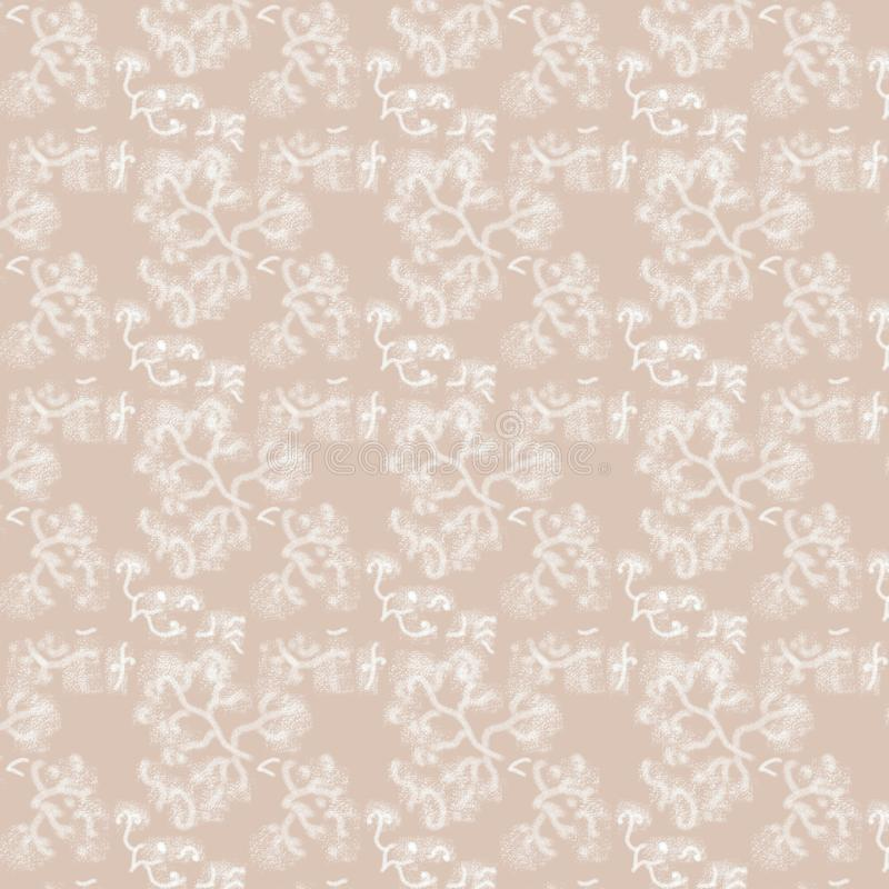 Seamless pattern of branches on a pale beige background. royalty free stock images