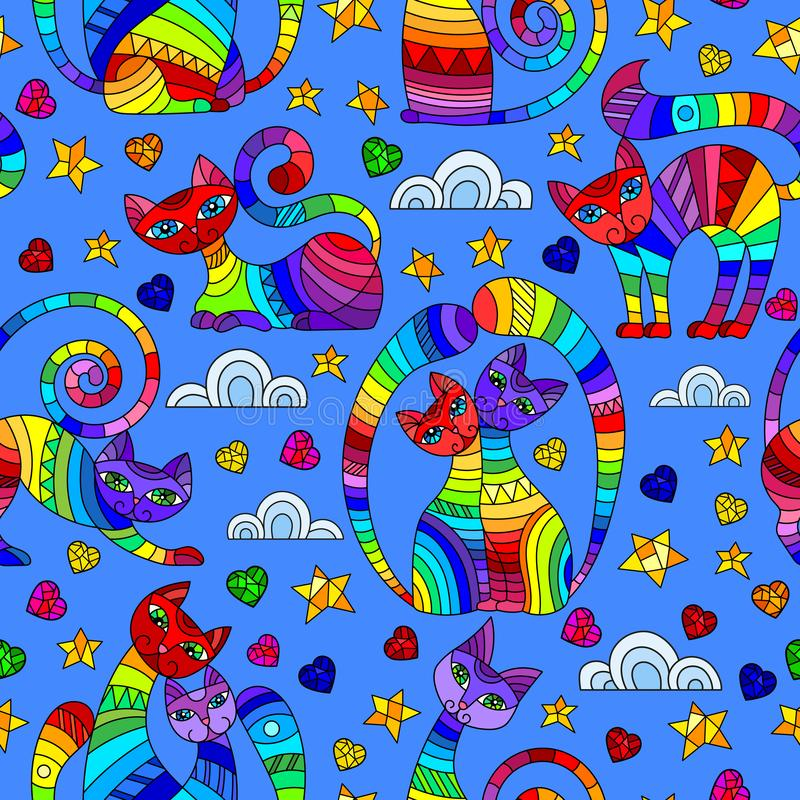 Seamless illustration with bright abstract cats, stars and hearts, color drawings on blue background vector illustration