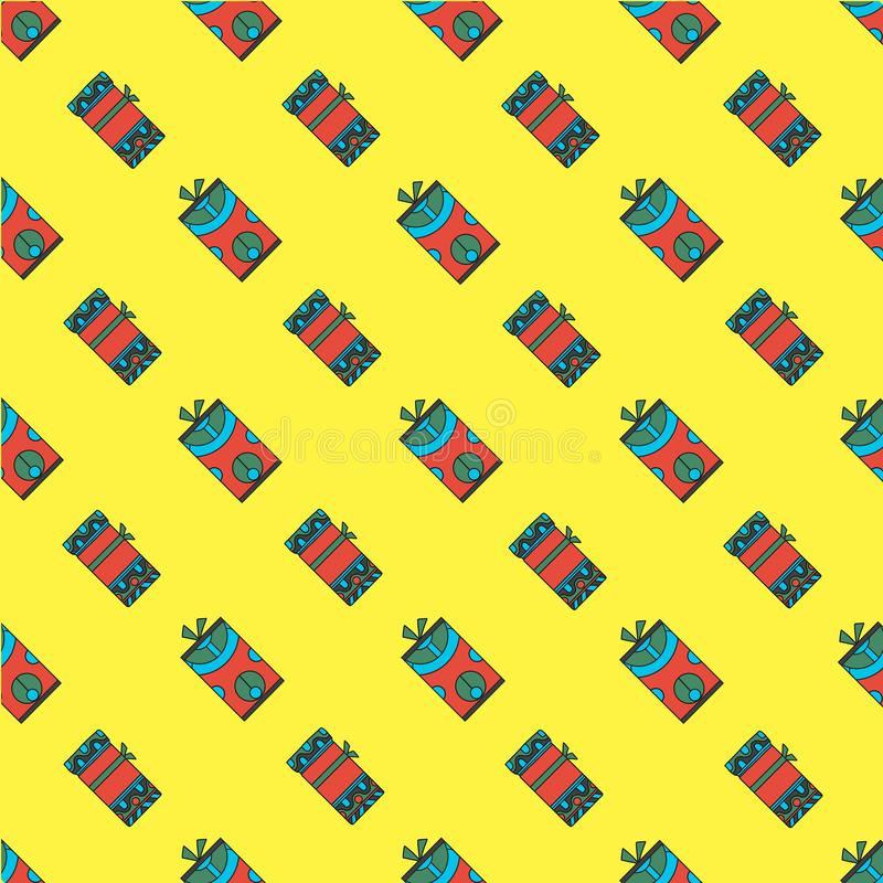 Seamless pattern bright colored gift boxes on yellow background. vector illustration hand drawn style vector illustration