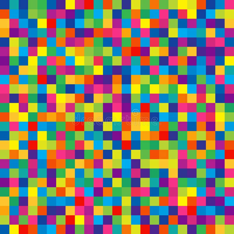 Seamless Pattern of Bright Colorful Squares for Children Wrapping-paper. stock illustration