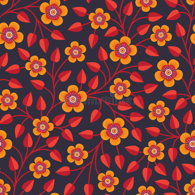 Seamless pattern with bright decorative flowers royalty free illustration