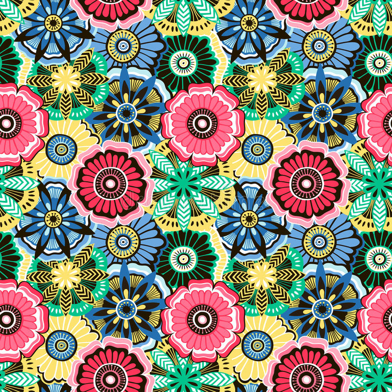 Seamless pattern from bright decorative flowers stock illustration