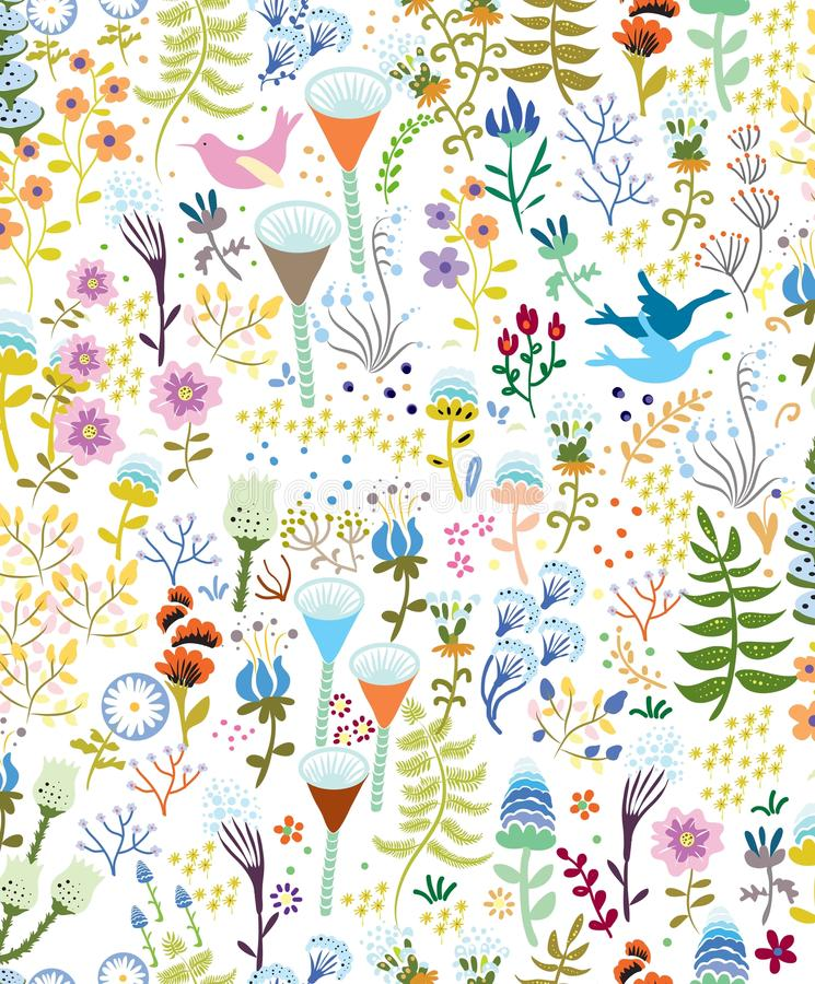 Seamless pattern with bright multicolored decorative flowers and leaves on a vihte background. Seamless pattern with bright multicolored ornamental flowers stock illustration