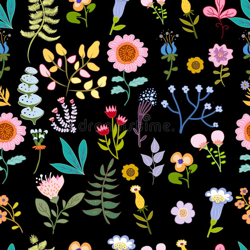 Seamless pattern with bright multicolored decorative flowers and leaves on a black background. Seamless pattern with bright multicolored ornamental flowers royalty free illustration