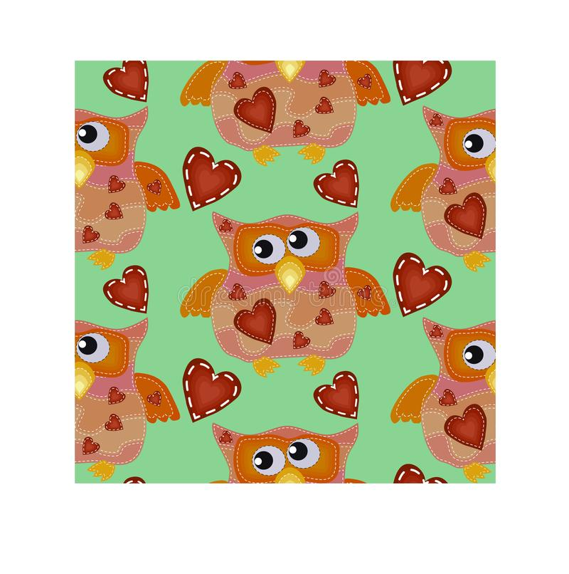 Seamless pattern with bright owls with imitation of seams royalty free illustration