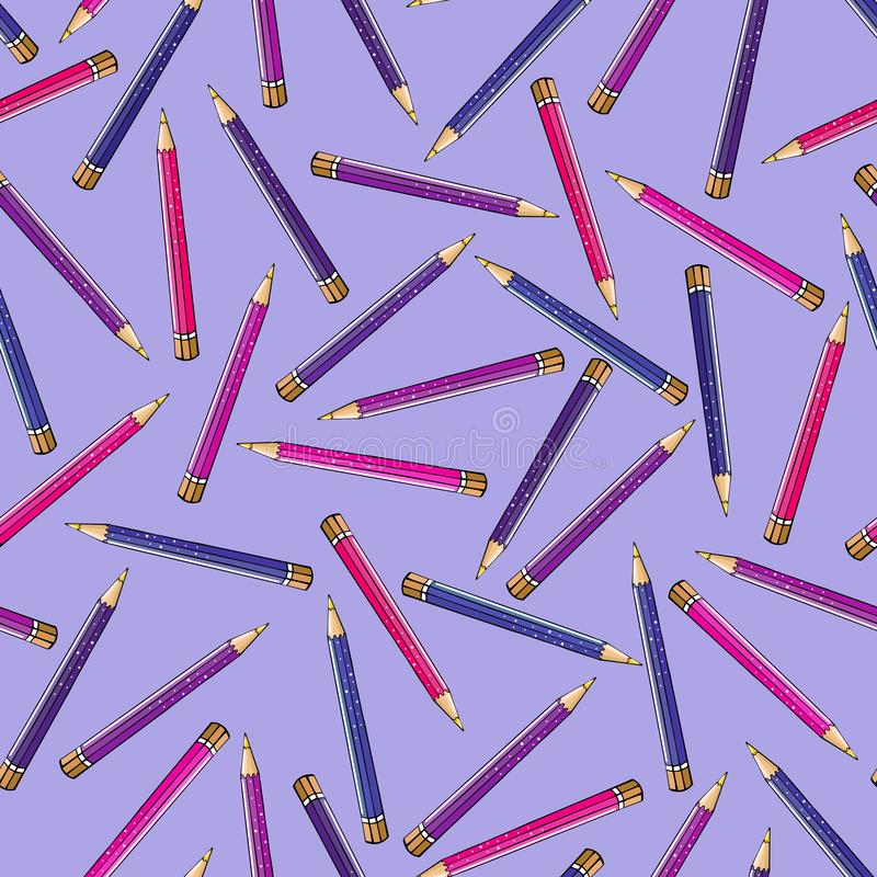 Seamless pattern of bright pencils in pink lilac colors stock illustration