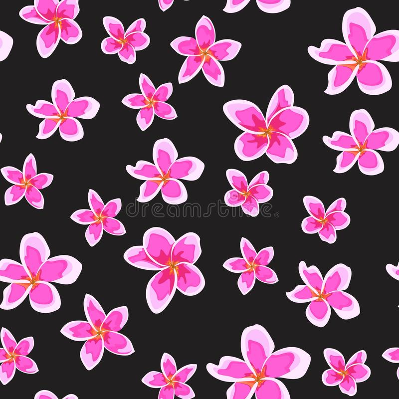 Seamless pattern with bright pink flowers. Floral décor of plumeria. Elegant tropical floral print for fabric design. vector illustration