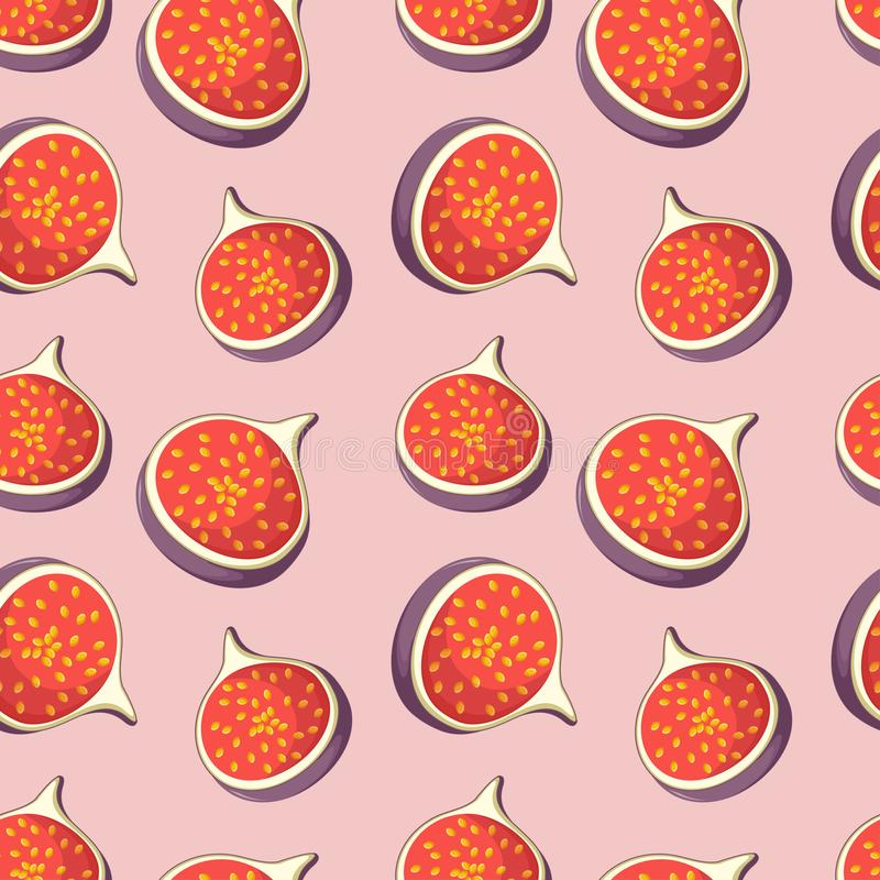 Seamless pattern with bright tasty slices of dates fruits figs on pink background. Cartoon style vector illustration vector illustration