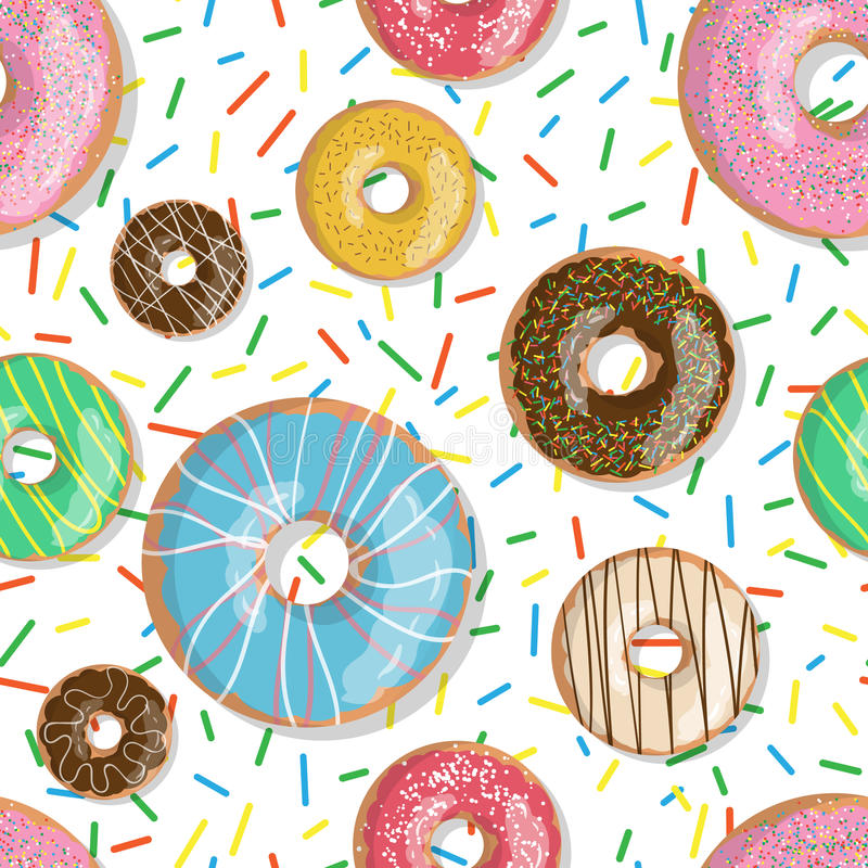 Seamless pattern bright tasty vector donuts illustration isolated on the sprinkles background. Doughnut background. In cartoon style for donuts menu in cafe and royalty free illustration
