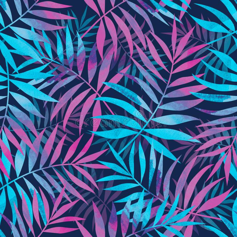 Seamless pattern with bright tropical palm leaves on dark blue b royalty free illustration